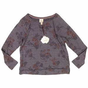 Knox Rose Gray Floral Print Sweater Side Lace Up